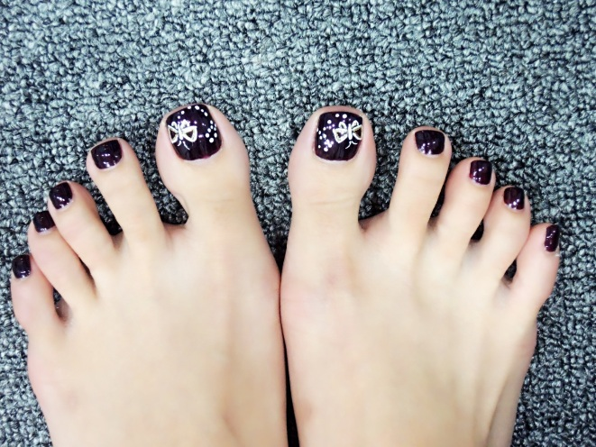 Pre chinese new year nail arts design janice np rm 35 price in package rm 32 nail art design rm 4 each dark purple as based color nail art butterfly was draw in white color shinny prinsesfo Images